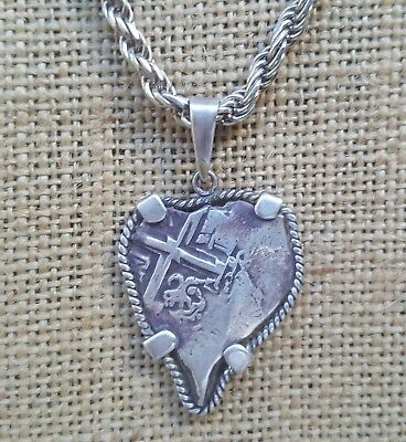Ancient Spanish Colonial Pirate Shipwreck 2 Reales Cob Coin Silver Charm & Chain