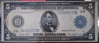 1914 $5 Federal Reserve Note New York VF Condition - b on
