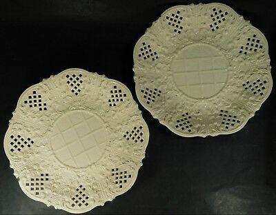 Two Antique Henry Dreydel Cream Plates with Raised and Pierced Decoration