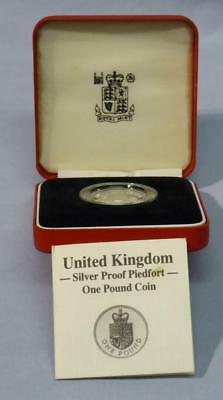 1988 Silver Proof Uk Piedfort £1 Coin - Uk Royal Arms - In Box With Cert