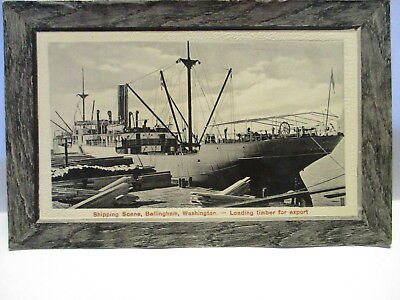 1910 Postcard Shipping Scene, Bellingham Wa, Loading Timber For Export