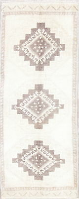 Muted Geometric Oushak Oriental Turkish Hand-Knotted 2'x4' Ivory Wool Runner Rug