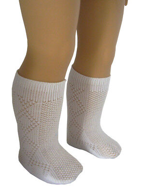 "White Nylon Patterned Knee High Socks for 18"" American Girl Doll Clothes"