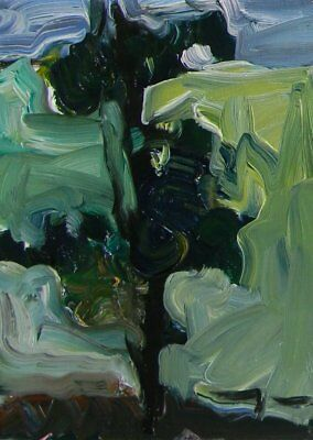 JOSE TRUJILLO Abstract Landscape Pine Tree Mountain View Expressionist Artwork