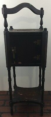 VINTAGE SMOKING TABLE PIPE CIGAR STAND CABINET HUMIDOR W door