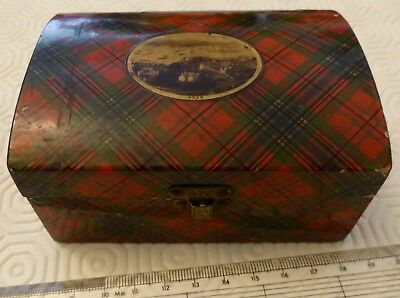 Antique McLean TARTAN WARE Mauchline Ware Needle Box with Photograph of Oban