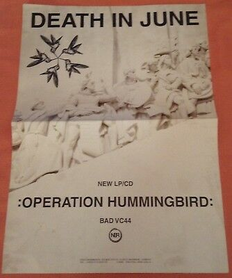 DEATH IN JUNE Operation Hummingbird promotional Poster New from 1999