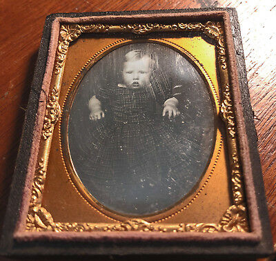 9th Plate Daguerreotype of Infant, Lots of Wipes