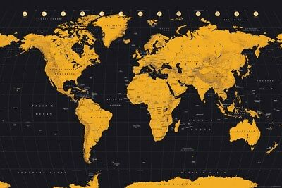 Poster World Map Gold 91.5x61cm