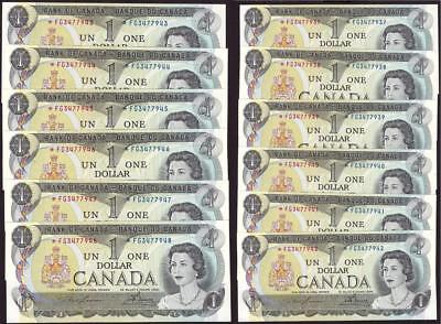 12x 1973 Canada $1 dollar replacement notes BC-46aA *FG3477937-48 UNC63 EPQ