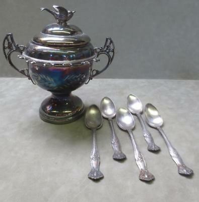 Antique Rogers WR Quadruple Silverplate New York 57 Master Sugar Bowl w/5 Spoons