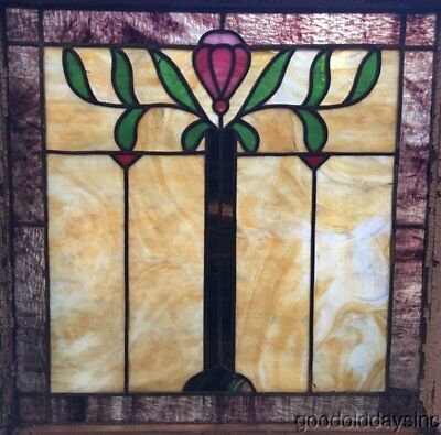 """Antique 1920's Chicago Bungalow Stained Leaded Glass Window 23"""" x 22"""""""
