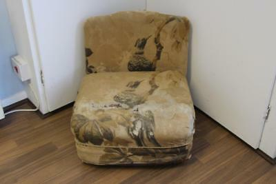 Unusual Antique Child's Chair with Original Kingfisher Fabric - Metal Castors