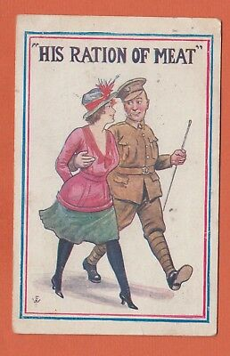 1918 WW1 Comic Postcard, His Ration of Meat