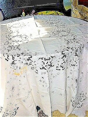 "Vtg.LINEN Tablecloth WHITE,CUTWORK,RAISED EMBROIDERY! 1940'S 66X100""Estate Item!"