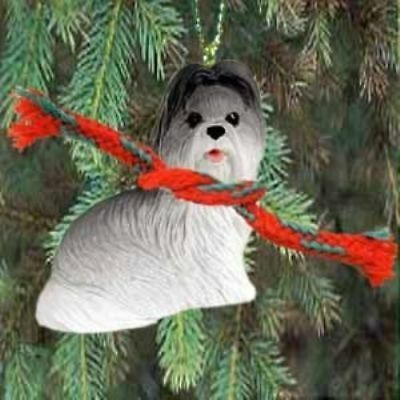 Small Resin SHIH TZU GREY/WHITE Dog Breed Miniature Christmas Ornament