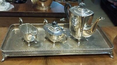 2325g sterling silver UPPER CLASS 4 PIECES COFFEE set, plain style.