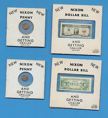 NIXON Dollar Bill & NIXON Penny - And Getting Smaller Smaller - 1974 - one of ea