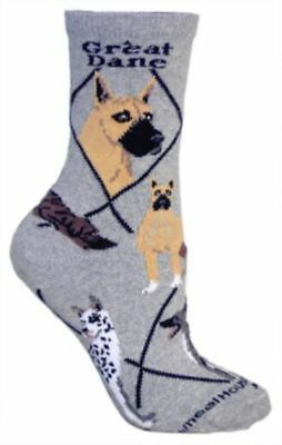 Adult Size Medium GREAT DANE Adult Socks/Grey Made in USA