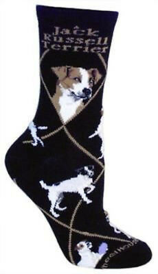 Adult Size Medium JACK RUSSELL TERRIER Adult Socks/Black Made in USA