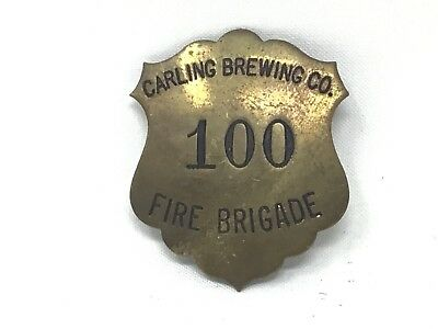 Vintage Brass Carling Brewing Co Fire Brigade Badge Fireman Beer Cleveland Plant