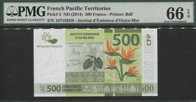 Tt Pk 5 2014 French Pacific Territories 500 Francs Pmg 66 Epq Gem Uncirculated!