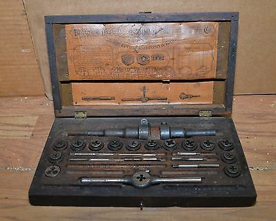 Antique 1800's Wiley Russell Lightning tape & Die set for brace drill screw tool