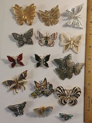15 Vintage To Modern Butterfly Bug Insect Brooch Pin Lot Rhinestones Enamel
