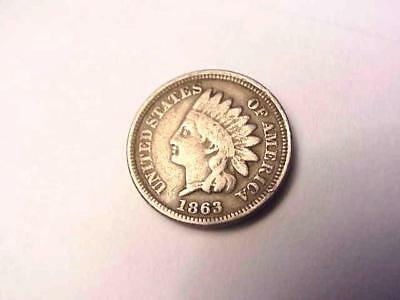 1863 COPPER INDIAN HEAD CENT penny COIN 1 cent VERY NICE COLOR!
