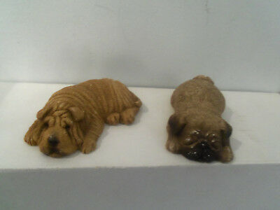 A lot of two vintage Shar Pei and -Pug dogs Sandicast Signed Brue 3x2  Snoozers