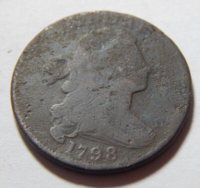 1798 Copper US Draped Bust Large Cent Coin - 2nd Hair Style