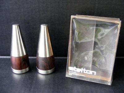 Stelton Salt Pepper Danish Stainless Steel Wood Made in Denmark 2 PC Vintage Set