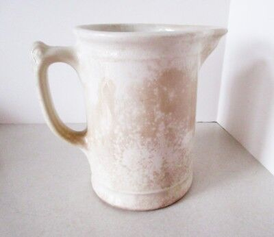 Antique Heavy White Ironstone Milk Pitcher Crazed and Stained Patina EMPIRE
