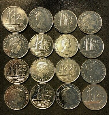 Old Cayman Islands Coin Lot - 25 CENT - 16 Excellent Scarce Coins - Lot #J11