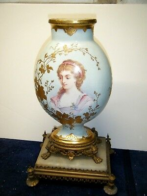 St. Denis Antique French Porcelain Vase Hand Painted on Brass Stand