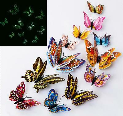 12Pcs 3D Butterfly Glow in The Dark Decal Wall Magnetic Sticker Home Decor Bland