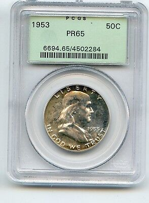 1953 Franklin Half Dollar, (PR 65) PCGS with the OLD Green Label