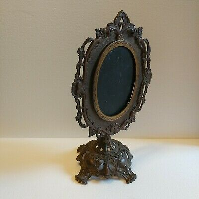 "Lrg Antique Victorian Gilded Ornate Cast Iron Swivel Pedestal Frame Mirror 17"" T"