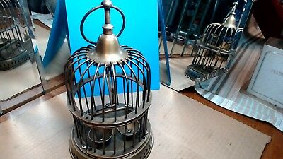 Vintage- Old Antique Brass Dome  Bird Cage w Bowls & Stand