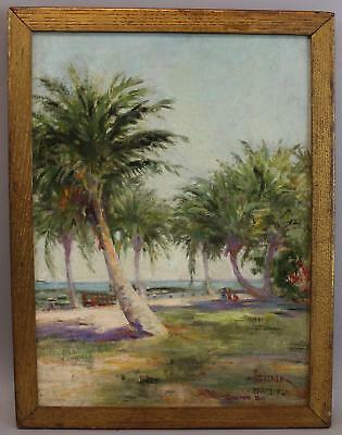 Vintage Signed Miami Florida Palm Tree Beach Tropical Landscape Oil Painting