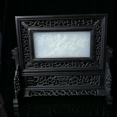 100% Natural Afghanistan Jade  Chinese Wood Screen Carved Two Dragons