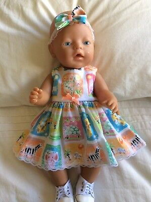 """Doll Clothes to fit 17"""" Baby Born doll ~ Dress & hband  ~ Zoo Animals"""