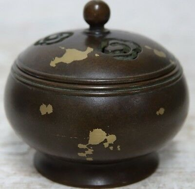 Fine Quality Chinese Heavy Bronze Gold Splash Censer With Seal Mark On Base Rare