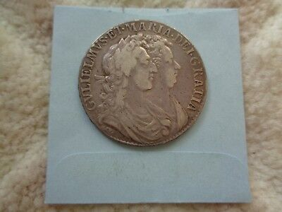 1689 Great Britain William & Mary Half Crown Silver coin Better condition