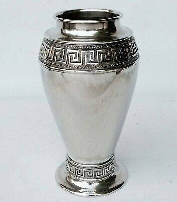 "Vintage Silver Plate With Greek Key Design Vase 11"" Tall"
