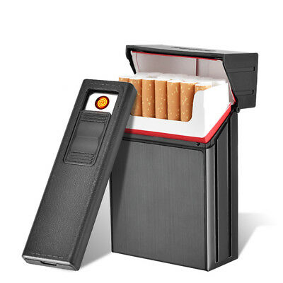 20 LOADED CIGARETTE CASE DISPENSER TOBACCO STORAGE BOX WITH USB LIGHTER Atom