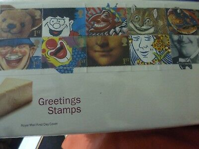 A Royal Mail First Day Cover Envelope With  Stamps - With 10 Greetings Stamps