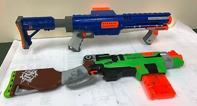 Lot of 2 NERF Guns w/ clips Raider CS-35 w/stock & Slingfire zombie gun