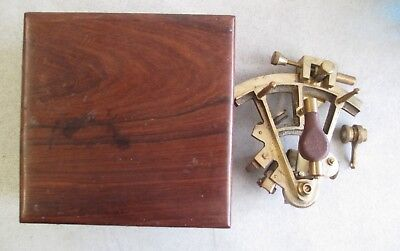 Vintage Ross London Brass Marine Navigation Ship Sextant With Wooden Box