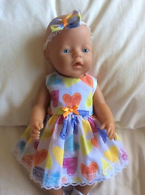 """Doll Clothes to fit 17"""" Baby Born doll ~ Dress & hband  ~ Colourful Hearts"""